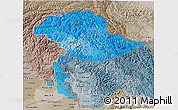 Political Shades 3D Map of Jammu and Kashmir, semi-desaturated