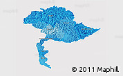 Political Shades 3D Map of Jammu and Kashmir, single color outside