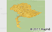 Savanna Style 3D Map of Jammu and Kashmir, single color outside