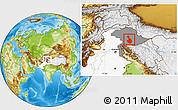 Physical Location Map of Kupwara (Gilgit Wazarat), highlighted country, highlighted parent region