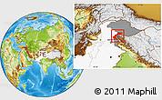 Physical Location Map of Kupwara (Muzaffarabad), highlighted country, highlighted parent region