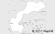 Silver Style Simple Map of Kupwara (Muzaffarabad)