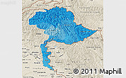 Political Shades Map of Jammu and Kashmir, shaded relief outside