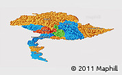 Political Panoramic Map of Jammu and Kashmir, cropped outside