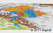 Political Panoramic Map of Jammu and Kashmir, physical outside