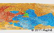 Political Panoramic Map of Jammu and Kashmir, political shades outside