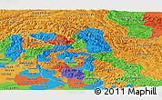 Political Panoramic Map of Jammu and Kashmir