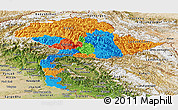Political Panoramic Map of Jammu and Kashmir, satellite outside