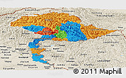 Political Panoramic Map of Jammu and Kashmir, shaded relief outside