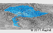 Political Shades Panoramic Map of Jammu and Kashmir, desaturated