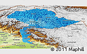 Political Shades Panoramic Map of Jammu and Kashmir, physical outside