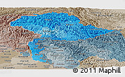 Political Shades Panoramic Map of Jammu and Kashmir, semi-desaturated