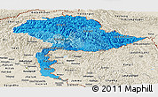Political Shades Panoramic Map of Jammu and Kashmir, shaded relief outside