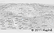 Silver Style Panoramic Map of Jammu and Kashmir
