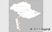 Gray Simple Map of Jammu and Kashmir, cropped outside