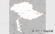 Gray Simple Map of Jammu and Kashmir
