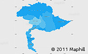 Political Shades Simple Map of Jammu and Kashmir, single color outside