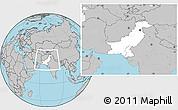 Blank Location Map of Pakistan, gray outside