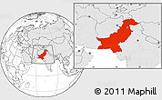 Blank Location Map of Pakistan, highlighted continent