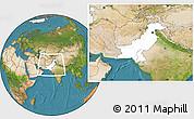 Blank Location Map of Pakistan, satellite outside