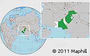 Flag Location Map of Pakistan, gray outside