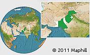 Flag Location Map of Pakistan, satellite outside