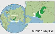 Flag Location Map of Pakistan, savanna style outside