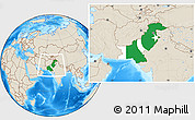 Flag Location Map of Pakistan, shaded relief outside