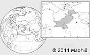 Gray Location Map of Pakistan, blank outside