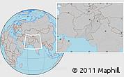Gray Location Map of Pakistan, hill shading inside