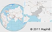 Gray Location Map of Pakistan, lighten, land only