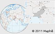 Gray Location Map of Pakistan, lighten