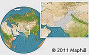 Gray Location Map of Pakistan, satellite outside