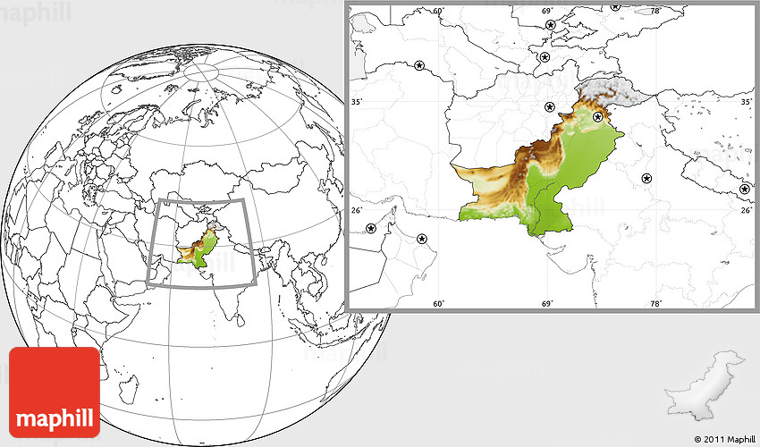 Physical Location Map Of Pakistan Blank Outside - World physical map blank