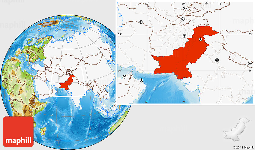 Physical Location Map Of Pakistan Highlighted Continent