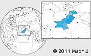 Political Location Map of Pakistan, blank outside