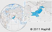 Political Location Map of Pakistan, lighten, desaturated