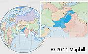 Political Location Map of Pakistan, lighten, land only