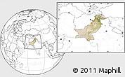 Satellite Location Map of Pakistan, blank outside
