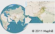 Satellite Location Map of Pakistan, lighten, land only