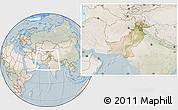 Satellite Location Map of Pakistan, lighten