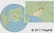 Satellite Location Map of Pakistan, savanna style outside, hill shading