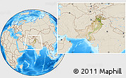 Satellite Location Map of Pakistan, shaded relief outside