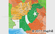 Flag Map of Pakistan, political shades outside