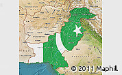 Flag Map of Pakistan, satellite outside
