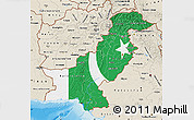 Flag Map of Pakistan, shaded relief outside