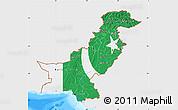 Flag Map of Pakistan, single color outside, bathymetry sea
