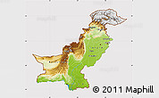 Physical Map of Pakistan, cropped outside
