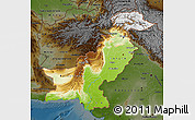 Physical Map of Pakistan, darken