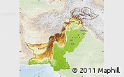 Physical Map of Pakistan, lighten